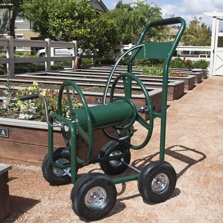 Best Choice Products Water Hose Reel Cart On The Ground